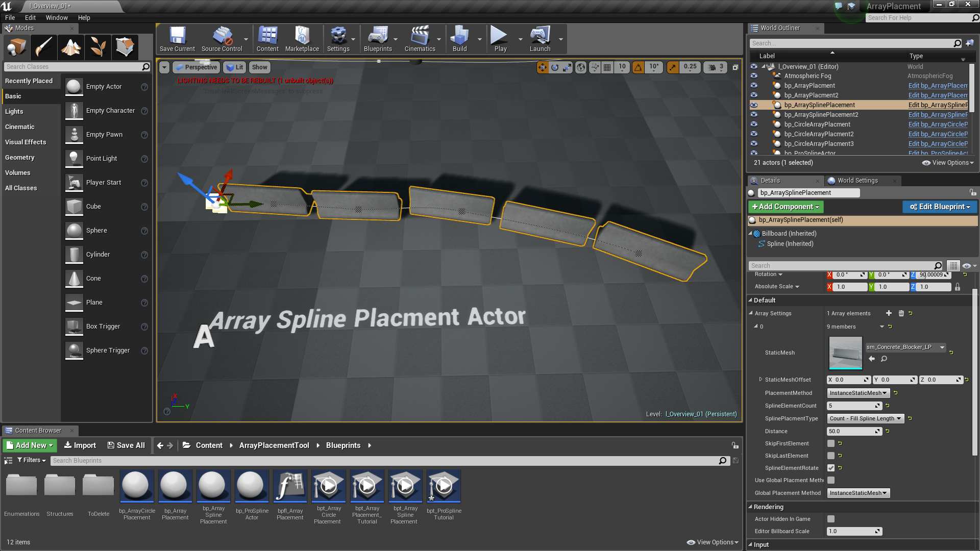 Array Placement Tool - Unreal Engine 4 Blueprint - Nanite Storm